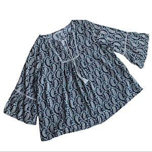 Hazel Boho Navy & White 3/4 Length Sleeve Top 1X
